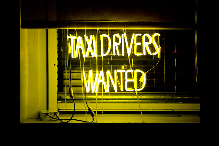 Taxi Drivers Wanted : Neon Sign 10th Av : NYC