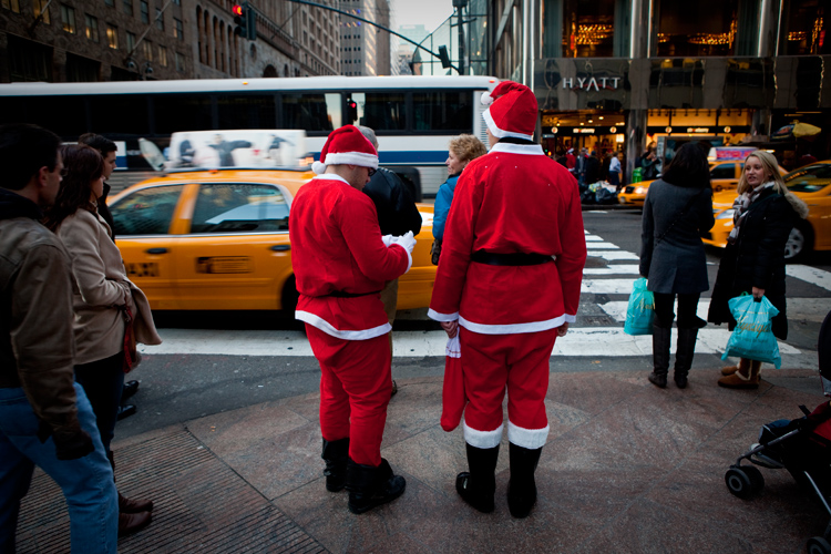 Two Santa's with Taxis : Grand Central : NYC