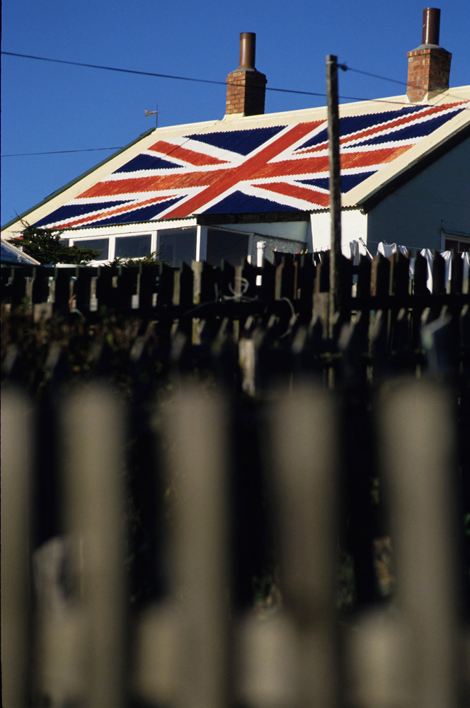 Union Jack on House : Port Stanley : Falkand Islands