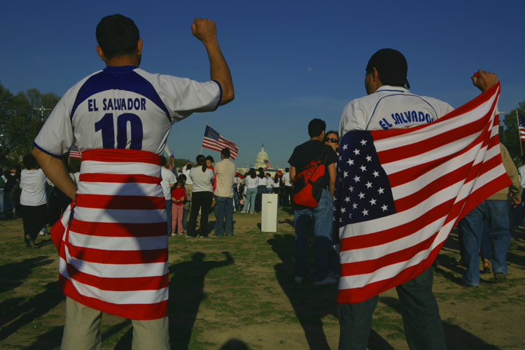 Wrapped in the flag: Immigrant March Washington DC